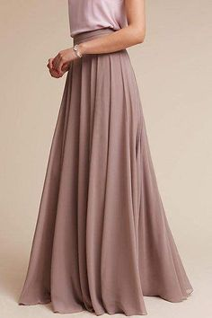 Hampton Skirt by BHLDN in Brown Size: 2 Womens Dresses at Anthropologie Midi Skirt Outfit Casual, Midi Rock Outfit, Denim Skirt Outfits, Maxi Skirt Black, Two Piece Bridesmaid Dresses, Bridesmaid Skirts, Bridesmaids, Pentecostal Outfits, Bridesmaid Inspiration