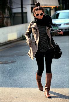 Top knot and chunky scarf.