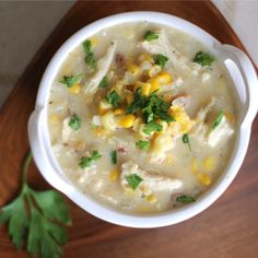 Just toss everything in the slow cooker! A creamy, satisfying soup with the sweetness of corn and just a hint of smoky bacon. Healthy, easy and delicious!