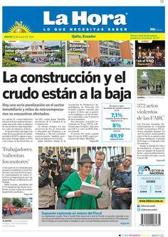 """Acá nuestra portada de hoy, 23 de julio del 2015. Tema destacado: """"La construcción y el crudo están a la baja""""."""