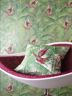 Sunbird Red and Green Wallpaper from Osborne and Little Eden Collection. A delightful wallpaper designed by Matthew Williamson featuring colourful exotic birds darting between rich foliage in red, cerise and metallic gilver on a grass green background. Osborne And Little Wallpaper, New Wallpaper, Fabric Wallpaper, Bathroom Wallpaper, Matthew Williamson, Tropical Interior, Tropical Decor, Luxury Homes Interior, Home Interior Design