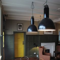 Black industrial pendants at The Devonshire Arms.