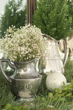 heirloom silver and baby's breath