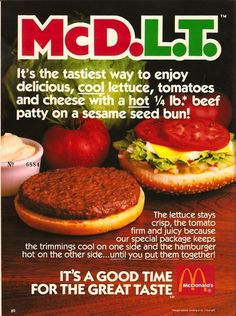 10 Discontinued And Mostly Forgotten McDonald's Menu Items...Bring back the McDLT!
