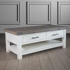 Dorset 2 Drawer Reclaimed Wood Coffee Table Closed Drawer