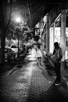 Walking Away by Marcus Allen on 500px  #blackandwhite #downtown #man #night #night photography #rain #storm #street photography #streetphotography #urban #woman