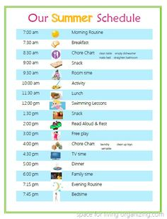 Lightly Scheduled Summer schedule for kids via Space for Living Organizing Summer School, Summer Kids, Kids Summer Schedule, Daily Schedule For Kids, Daily Schedules, Visual Schedules, Swim Lessons, Summer Activities, Daily Activities