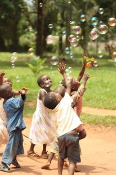 Blowing bubbles with children