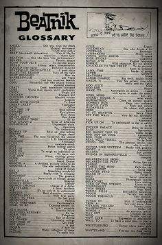 beat generation ~ Look how much of our current language came from the Beatnik…