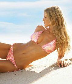 sparkly pink bikini. beach wave hair.
