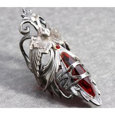 Nail Ring Gothic Knuckle Ring Red Claw Ring Above Knuckle Ring Bird... ($40) ❤ liked on Polyvore featuring jewelry, rings, goth jewelry, claw jewelry, claw ring, talon rings and gothic jewelry