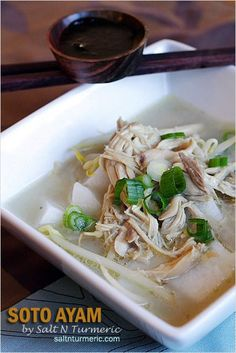 Soto Ayam recipe - Soto Ayam is basically chicken soup and its very popular in Indonesia, Malaysia and Singapore. You can enjoy it with rice cakes or vermicelli noodle or both. New Chicken Recipes, Duck Recipes, Asian Recipes, Ethnic Recipes, Recipe Chicken, Malaysian Cuisine, Malaysian Food, Malaysian Recipes, Asian Cooking