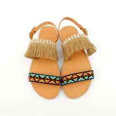 Bohemian sandals with hemp and ethnic cord