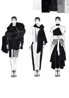 Fashion Sketchbook - fashion illustrations; line up; fashion portfolio // Emma Berry