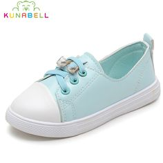 >> Click to Buy << 2017 Autumn Girls New Sneakers Children PU Leather Single Casual Shoes Kids White Rhinestones Flats Sneakers C454 #Affiliate