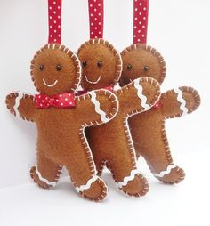 x3 Gingerbread Man Felt Christmas Decorations -