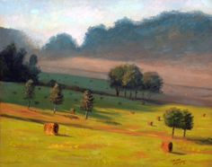 """Haybales at Daybreak by Tommy Thompson ~ 24 x 30 Oil on Canvas. """"Haybales at Daybreak"""" is a painting that I created of one of my favorite places to paint. Early one morning at daybreak, I visited a farm in Leiper's Fork, Tennessee, to capture the light just about perfect on the haybales that I wanted to paint."""