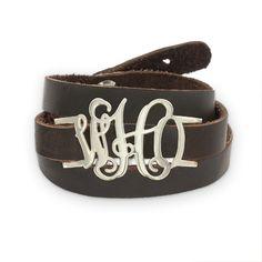 Leather Wrap Monogram Bracelet #beyoubeunique