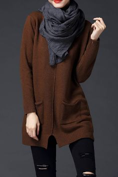 Cozy Fall Fashion! Brown Double Pockets Sweater #Cozy #Fall_Fashion #Comfy #Sweater #Outfit_Ideas