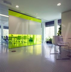 coloured glass partitioning