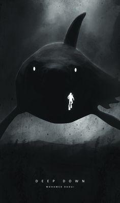 Deep Down by DarknesFreak on DeviantArt Scary Ocean, Fantasy Artwork, Fantasy Art, Shark Art, Amazing Art, Animation Art, Creature Art, Art Wallpaper, Dark Fantasy Art