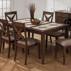 lyke home handrubbed brown finish tile top 5piece dining set