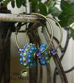 SRA Handmade LAMPWORK EARRINGS hoops glass beads by Donna Millard