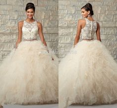 2015 quinceanera two piece   Beige Color Ball Gown Two Pieces Cheap Quinceanera Dresses 2015 ...