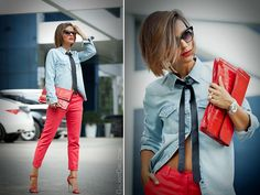 denim shirt outfit with red trousers by GalantGirl.com