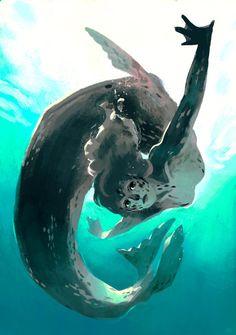 leopard seal mermaid, an art print by Caitlin Soliman Mythical Creatures Art, Magical Creatures, Fantasy Creatures, Fantasy Character Design, Character Design Inspiration, Character Art, Mermaid Drawings, Mermaid Art, Mermaids And Mermen