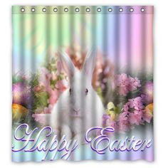 Personalized Bathroom Decor Happy Easter Rabbit Flower Pattern Shower Curtain X Polyester Fabric Shower Curtain Super Soft -Bath Curtain Holiday Shower Curtains, Fabric Shower Curtains, Holiday Day, Holiday Gifts, Bathroom Accessories, Happy Easter, Flower Patterns, Birthday Gifts, Rabbit