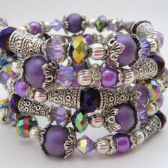 Memory Wire Bracelet / Memory Wire Cuff / Amethyst Crystal
