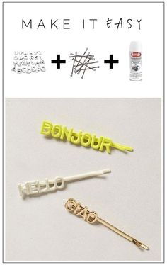 38 Creative DIY Hair Accessories - Word Up Hair Grips - Create Pretty Hairstyles for Women, Teens and Girls with These Easy Tutorials - Vintage and Boho Looks for Prom and Wedding - Step by Step Instructions for Cool Headbands, Barettes, Pony Tail Holders, Hair Clips, Bobby Pins and Bows http://diyprojectsforteens.com/diy-hair-accessories