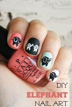 DIY Elephant Nail Art on http://MommyMoment.ca