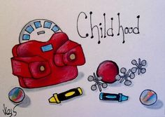 "Aceo  Original  ATC OOAK    ""CHILDHOOD""   pencil/ink  #OutsiderArt"