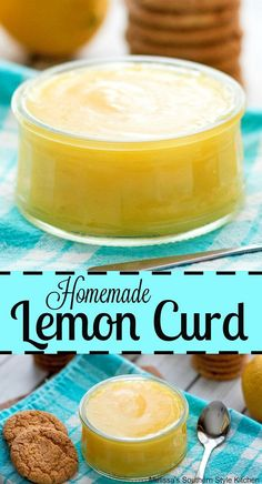 This luscious and tangy Homemade Lemon Curd is ideal for serving as a spread for cookies, scones, English muffins or used as a filling for cakes and pies. Lemon Desserts, Lemon Recipes, Just Desserts, Sweet Recipes, Dessert Recipes, Cream Recipes, Breakfast Recipes, Easy Lemon Curd, Lemon Curd Recipe