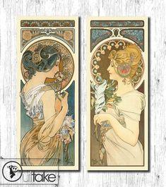 Art Nouveau vintage poster illustration set by OuttakeCanvas, $130.00