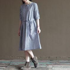 Blue grid cotton sundress half sleeve summer maxi dresses - 2016-5-17 - New In