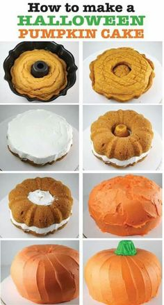 How to make a Halloween Pumpkin Cake. It's easy with 2 half size bundt pans or you could use regular sized bundt pans for a bigger pumpkin. It's so cute and so yummy. Perfect for your ! halloween party food and drink, halloween parties Bolo Halloween, Halloween Torte, Halloween Goodies, Halloween Food For Party, Halloween Pumpkins, Easy Halloween Cakes, Halloween Food Recipes, Haloween Cakes, Halloween Birthday Cakes