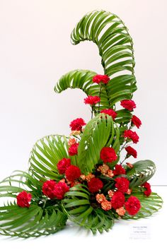 2010 HK Ikebana flower show Contemporary Flower Arrangements, Tropical Flower Arrangements, Ikebana Flower Arrangement, Church Flower Arrangements, Church Flowers, Beautiful Flower Arrangements, Unique Flowers, Tropical Flowers, Silk Flowers