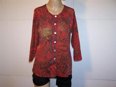 CHICO'S Shirt Top 1 Nylon Stretch Button Front 3/4 Sleeves Stretch Womens Small #Chicos #ButtonDownShirt #Casual