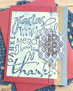 """In Any Language Thank You Card, Danke, Gracias, Merci, Grateful, Gratitude, Appreciation, Friend, Thinking of You, Embossed, Fun - 5"""" x 6.5"""" by PaperDahlsLLC on Etsy"""