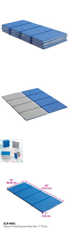Daycare Supplies 116097 Ecr4kids Value 4 Fold Daycare Rest Mat Blue And Grey 1 Thick 5 Pack Buy It Now Only 90 9 On Ebay Daycare Daycare Grey Blue