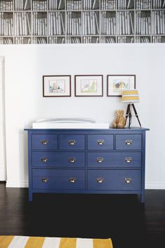 midnight blue IKEA Hemnes dresser with elegant handles used as a changing table Navy Blue Dresser, Boy Dresser, Nursery Dresser, Ikea Dresser, Changing Table Dresser, Nursery Room, Changing Tables, Themed Nursery, Nursery Grey