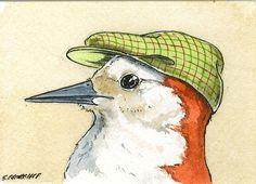 Birds in Hats Set no2  Special  set of 4 ACEO by poordogfarm, $20.00