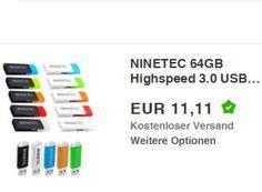 """Ninetec: USB-Stick mit 64 GByte und USB 3.0 für 11,11 Euro https://www.discountfan.de/artikel/technik_und_haushalt/ninetec-usb-stick-mit-64-gbyte-und-usb-3-0-fuer-11-11-euro.php Als """"Wow! des Tages"""" lockt bei Ebay bis Freitag morgen ein Ninetec USB-Stick mit 64 Gbyte und USB 3.0 für 11,11 Euro frei Haus. Verfügbar ist der Speicher in zahlreichen Farben. Ninetec: USB-Stick mit 64 GByte und USB 3.0 für 11,11 Euro (Bild: Ebay.de) Der Ninetec USB-Stick mit 64 GB"""