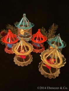 Set of Six Vintage Plastic Spinner Carousel Christmas Ornaments