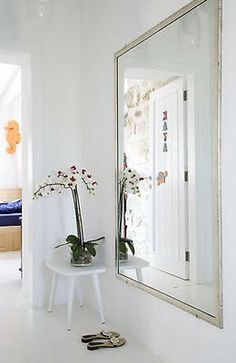Big mirror in front of buffet/console Hallway Mirror, Entry Hallway, Mirror Mirror, Stairs In Living Room, Small Hallways, Yellow Interior, Front Rooms, House Entrance, Scandinavian Home