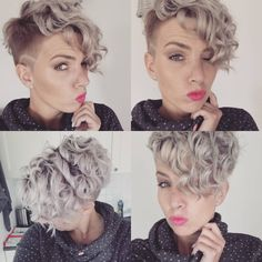 just short haircuts, nothing else. If you're thinking of getting an undercut… - Short Pixie Haircuts Short Curly Pixie, Short Curls, Short Pixie Haircuts, Short Hair Cuts, Short Hair Styles, Haircut Short, Short Curly Mohawk, Curled Pixie, Short Afro