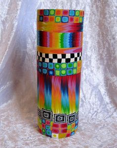 Polymer clay covered vase by Tania P., via Flickr